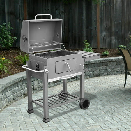 XtremepowerUS Deluxe Charcoal Grill Large Station Outdoor BBQ Built-in Thermometer Grate