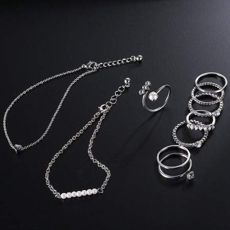 10pcs Jewelry Set Multi Shape 14/17/18/19mm Ring Unique Hand Chain Bracelet for Women Girls's Gift - image 2 of 8