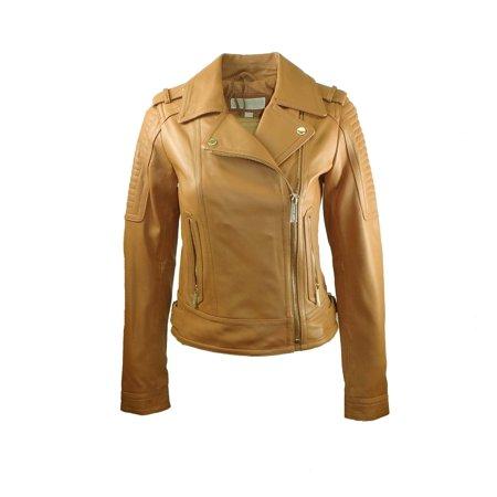 58d492505206 Michael Kors - Michael Kors Asymmetric Moto Leather Jacket - Walmart.com