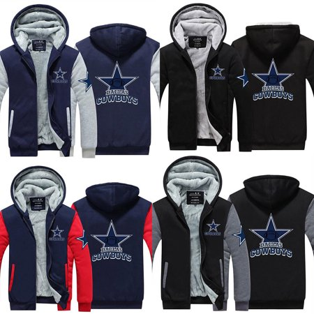 Dallas Cowboys Mens Jackets - Men Warm Fleece Cowboys Dallas Shear Jacket Zipper Hoodie Sweatshirts Coat Jacket