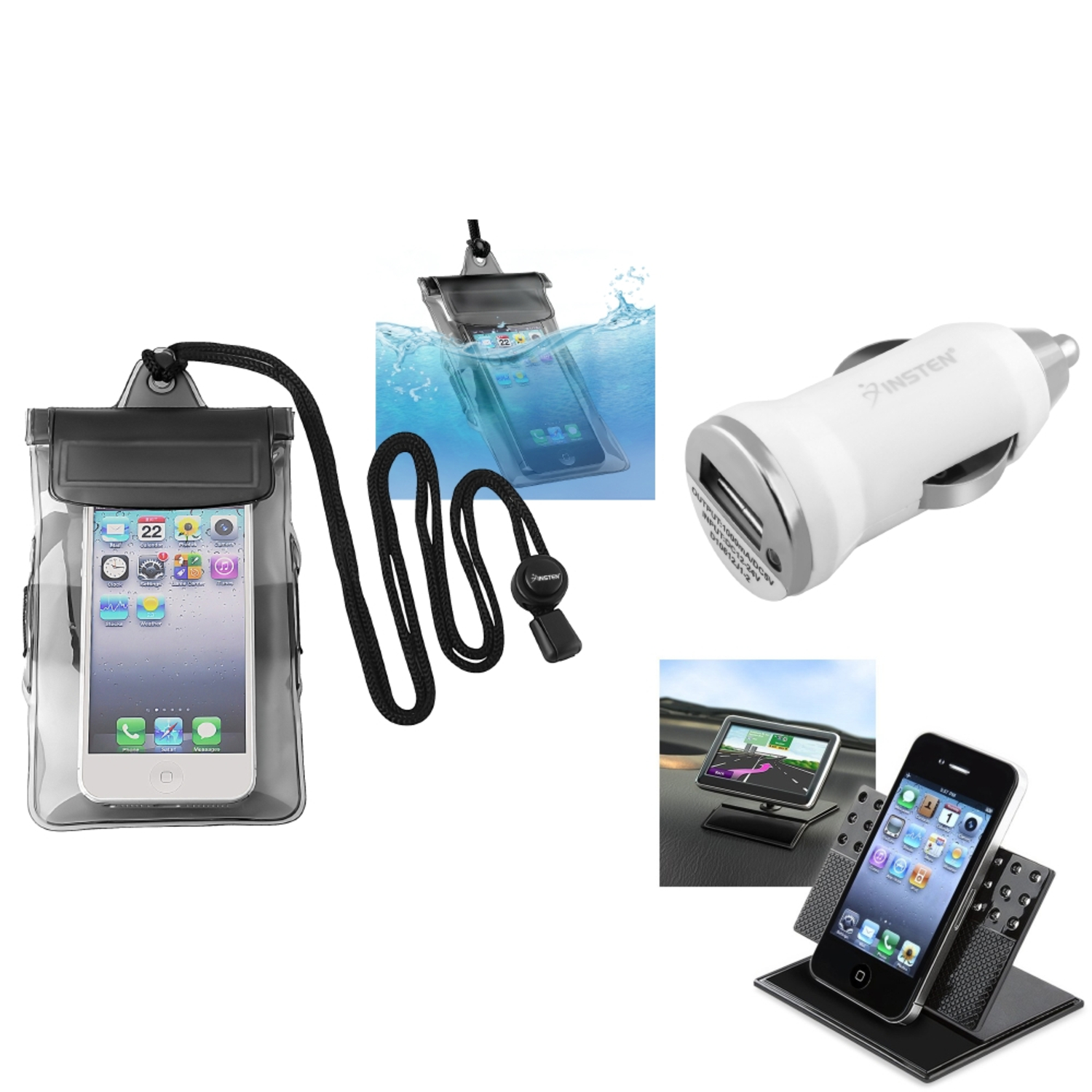 Insten Black Waterproof Bag Case Charger Car Holder For iPod Touch 1 2 3 5 5G 5th Gen