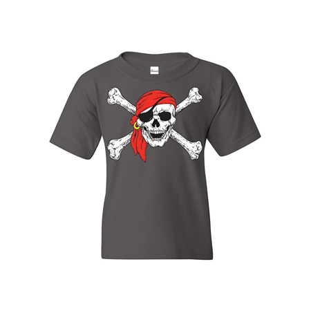 Jolly Roger Skull & Crossbones Youth's T-Shirt Pirate Flag Shirts Skull Crossbones Pirate