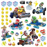 """RMK2728SCS Mario Kart 8 Peel and Stick Wall Decals (Set of 4), 10"""" x 18"""", Comes with 44 wall decals; decal range size 1.3""""wide x 1.6""""high to.., By RoomMates"""