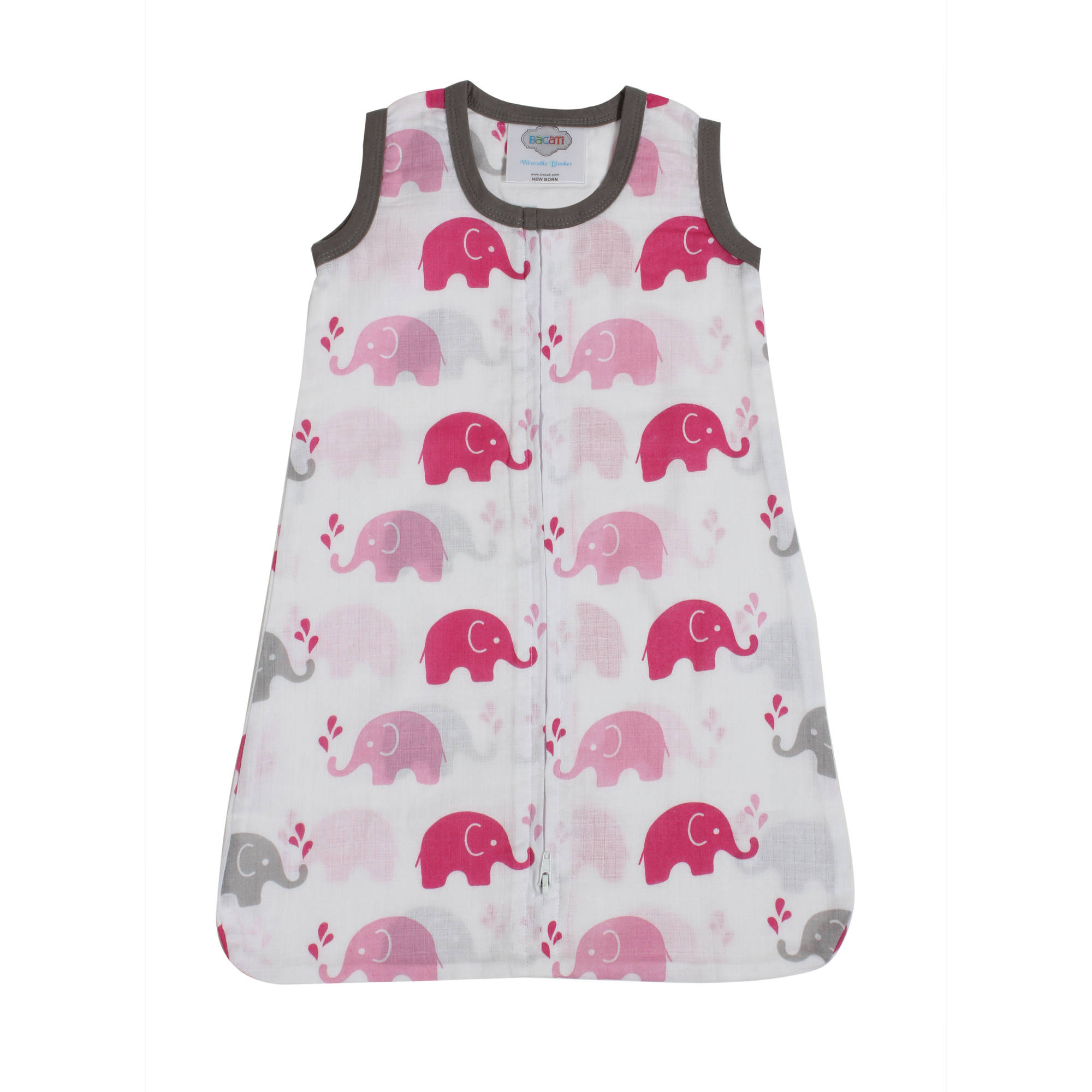 Bacati - Elephants Pink/Grey Muslin Sleep Sack