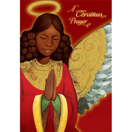 Designer Greetings Angel Praying: African American Box of 18 Christmas (Best White Angel Cards Mtg)