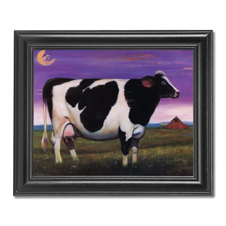 Holstein Milk Cow at Night in Grass Moon Farm Wall Picture Black Framed (Cow Picture Frame)