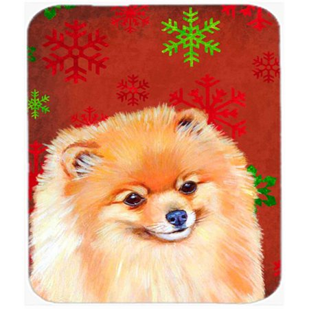 Pomeranian Red And Green Snowflakes Christmas Mouse Pad, Hot Pad Or Trivet - 7.75 x 9.25 In. - image 1 de 1