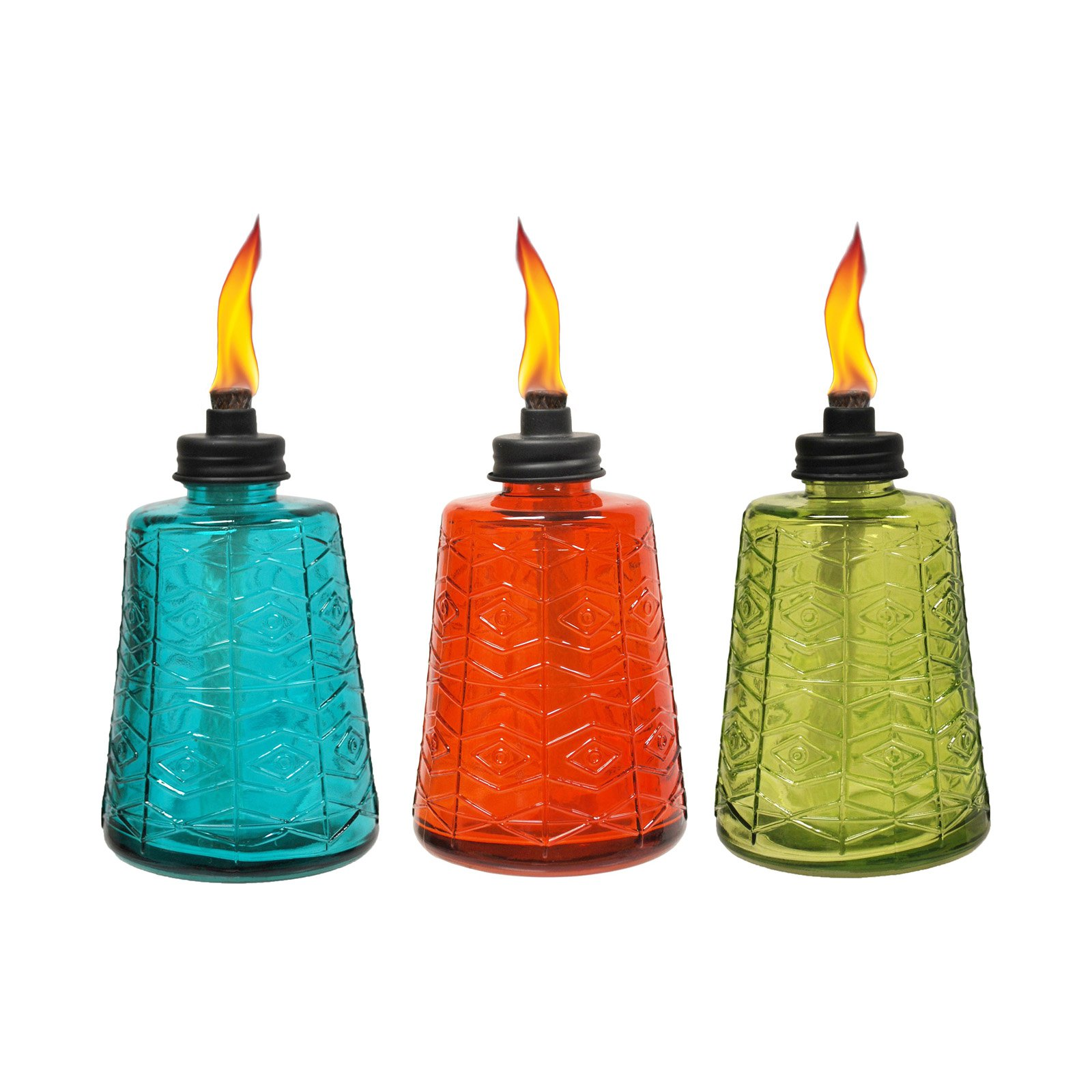 Tiki Glass 6 in. Outdoor Table Torch - Set of 3