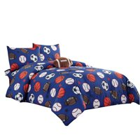 WPM Kids Collection Bedding 5 Piece Blue Full Size Comforter Set with Sheet Pillow sham and Football Toy Soccer Baseball Basketball Fun Sports Design FOOTBALL