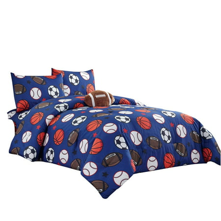 WPM Kids Collection Bedding 5 Piece Blue Full Size Comforter Set with Sheet Pillow sham and Football Toy Soccer Baseball Basketball Fun Sports Design FOOTBALL (Bedding Collection Comforter)