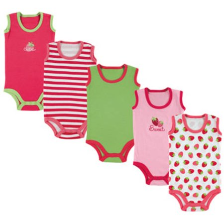 Luvable Friends Newborn Baby Girls' Sleeveless Bodysuits 5-Pack, Choose Your Color & Size