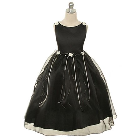 Kids Dream Little Girls Black Rosebud Organza Flower Girl Dress 2 - Flower Girl Dresses Organza
