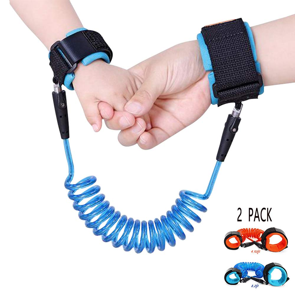 2 Pack Anti Lost Wrist Link Child Outdoor Safety Leash with Blue and Orange for Toddlers Babies & Kids, [4.92ft & 8.2ft]
