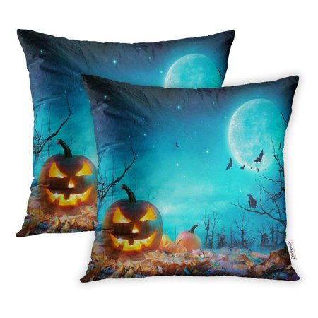 CMFUN Pumpkin Glowing at Moonlight in The Spooky Forest Halloween Scene Pillowcase Cushion Cover 20x20 inch, Set of - Halloween Forest Scene