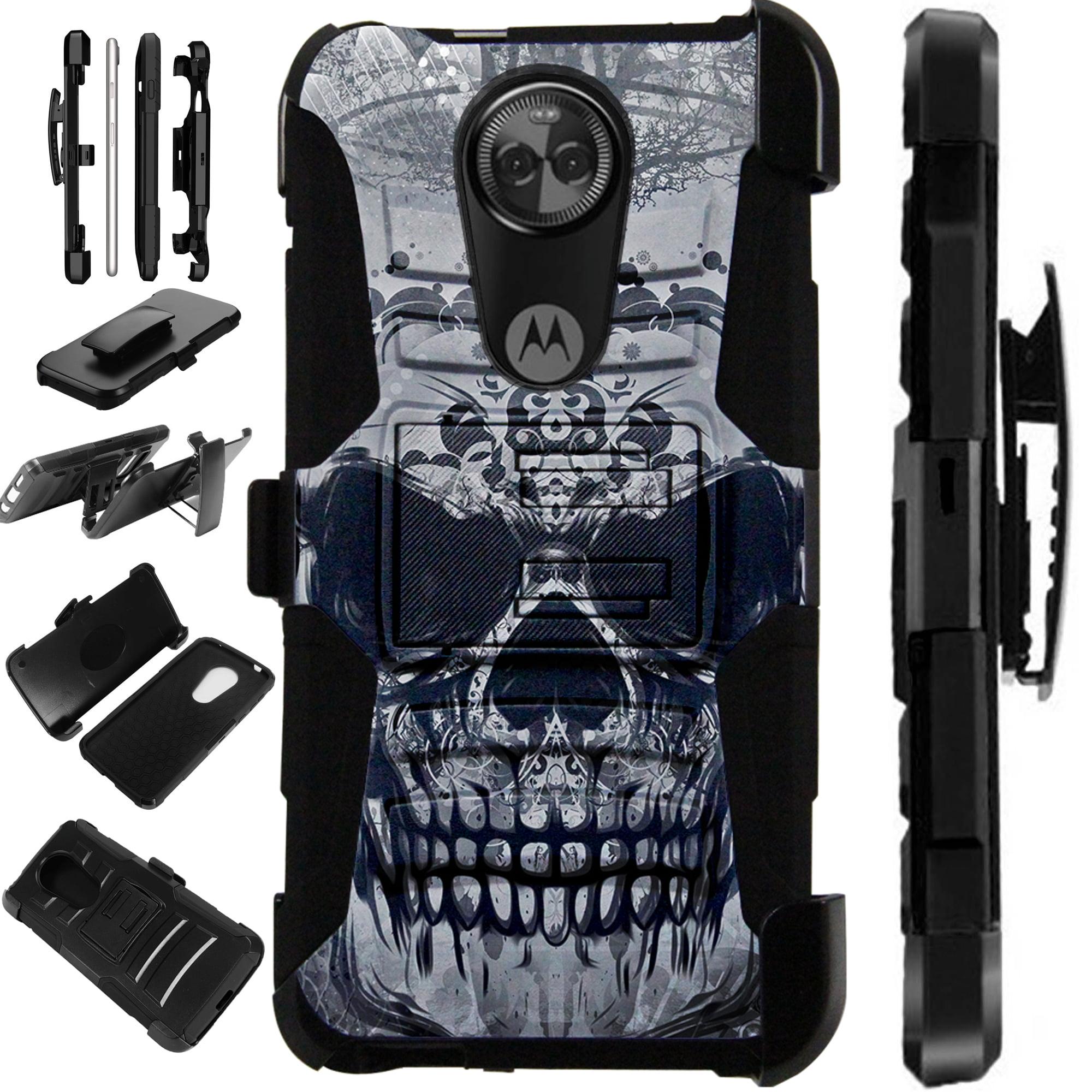 For Motorola Moto E5 Play | Moto E5 Cruise Case Armor Hybrid Silicone Cover Stand LuxGuard Holster (Gray Evil Skull)