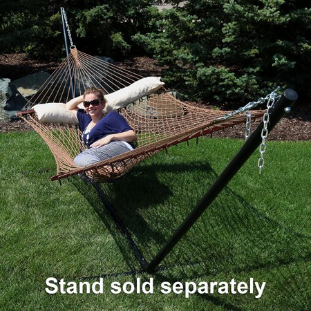 Sunnydaze Polyester Rope Hammock, Double Wide Two Person with Spreader Bars - For Outdoor Patio, Yard, and Porch (Brown) Algoma Polyester Rope Hammock