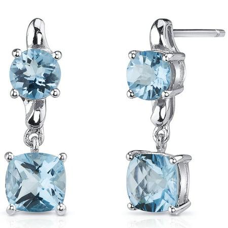 - 3.50 Ct Cushion Cut Swiss Blue Topaz Sterling Silver Drop Earrings Rhodium Finish