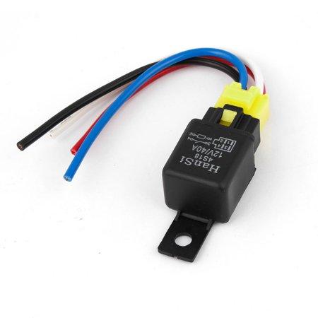 Van Car Truck 40A 12V DC Alarm SPST Relay w Plastic Socket Harness Wires