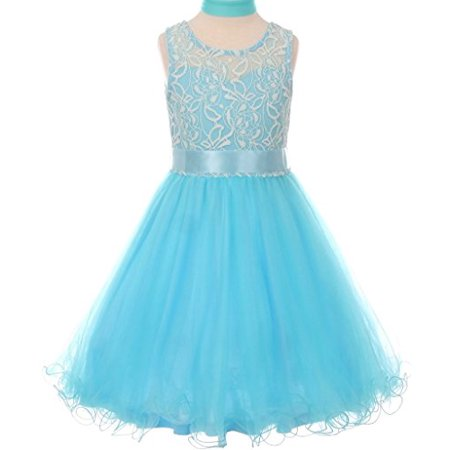 Flower Girl Dress Tulle Wired Dress with Scarf & Satin Ribbon for Little Girl Aqua 10 CC.5002