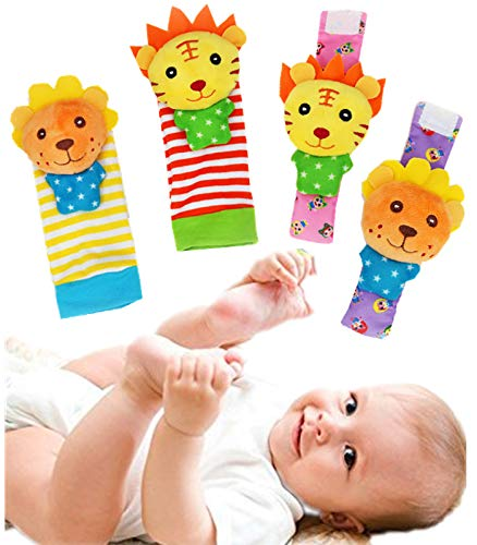 Baby Wrist Rattle and Foot Rattles Finder Socks Set Animal Rattles Baby Toy Gift