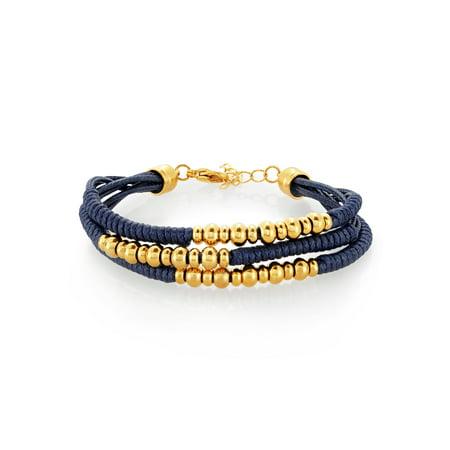 Gold Plated Triple Strand Stainless Steel Beaded Bracelet (16mm)