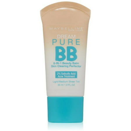 Maybelline New York Dream Pure BB Cream 8-in-1 Skin Clearing Perfector, Light/Medium 1 (Maybelline Bb Cream For Oily Skin Philippines)