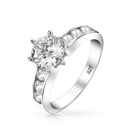 2 CT Round Brilliant Solitaire AAA CZ Cubic Zirconia 6 Prong Engagement Ring Channel Set Band 925 Sterling (Channel Solitaire)