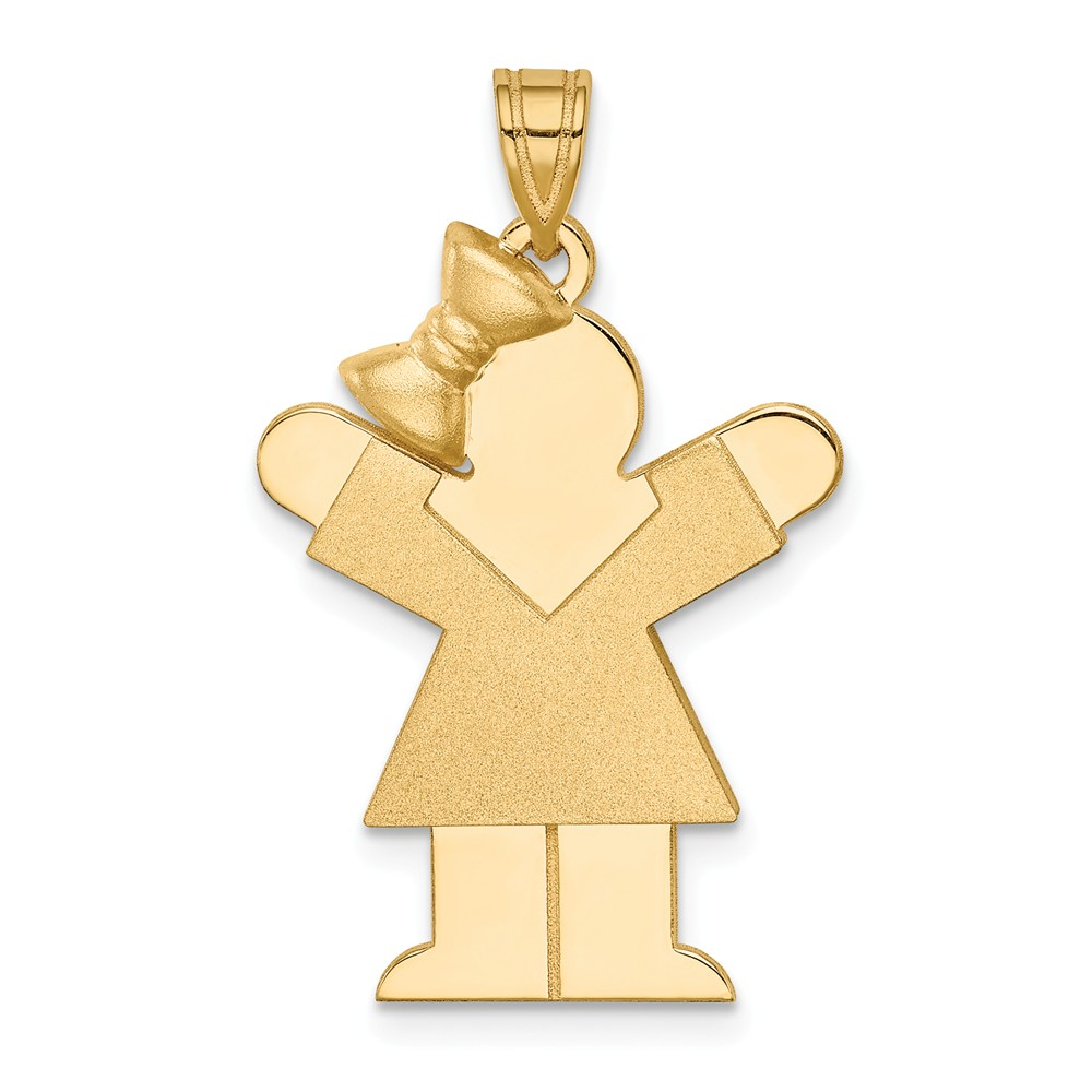 14k Yellow Gold Solid Engravable Girl with Bow on Left Charm (1.2in long x 0.8in wide)