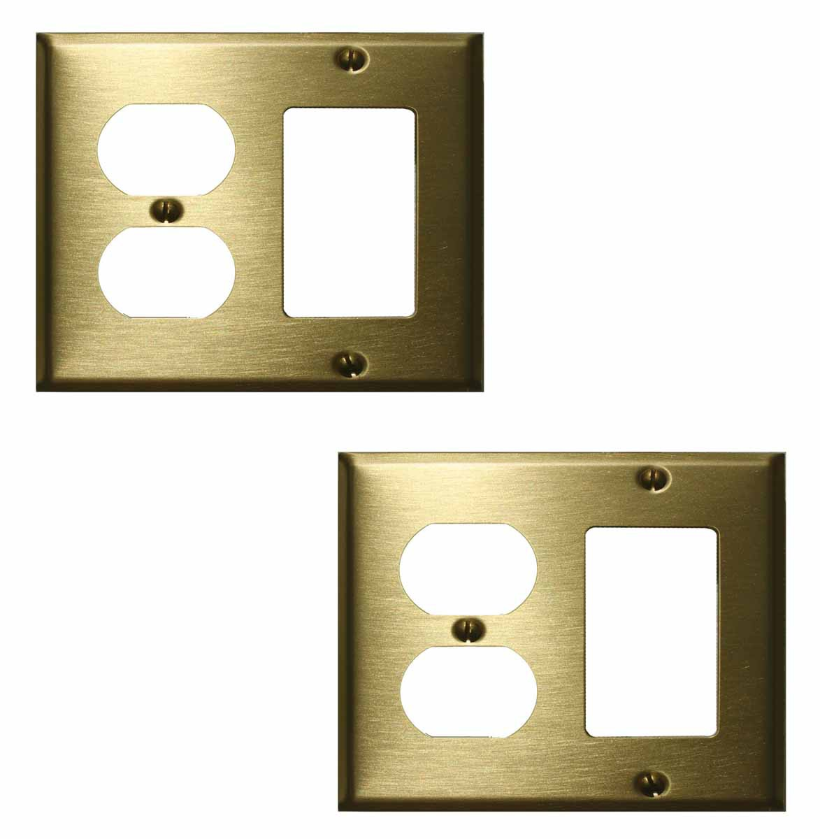 2 Switchplate Brushed Solid Brass Outlet GFI | Renovator's Supply