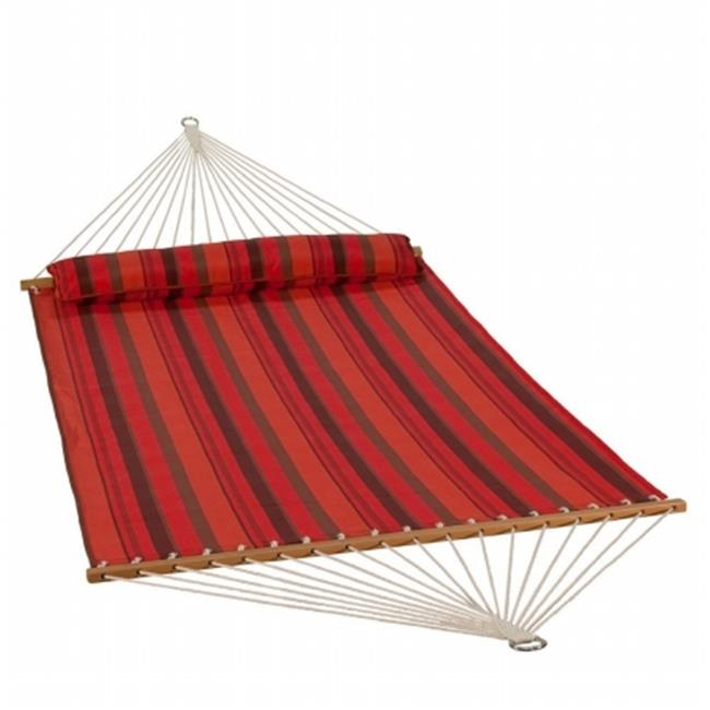 13 ft. Quick Dry Hammock with Matching Pillow, Red - Sunset Stripe