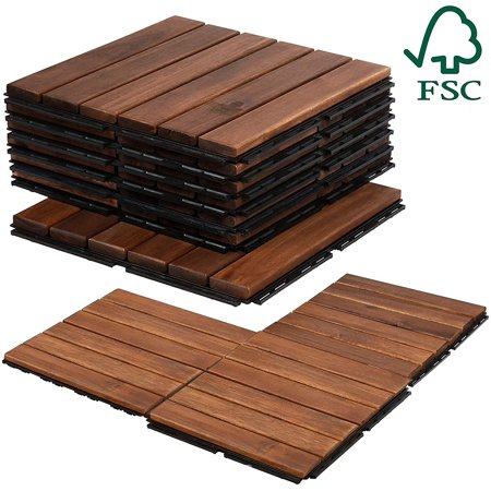 11 Acacia Wood Deck Floor Tiles (STRIPE, EZ Interlocking, FSC Certified, by Mammoth) Teak Deck Tiles