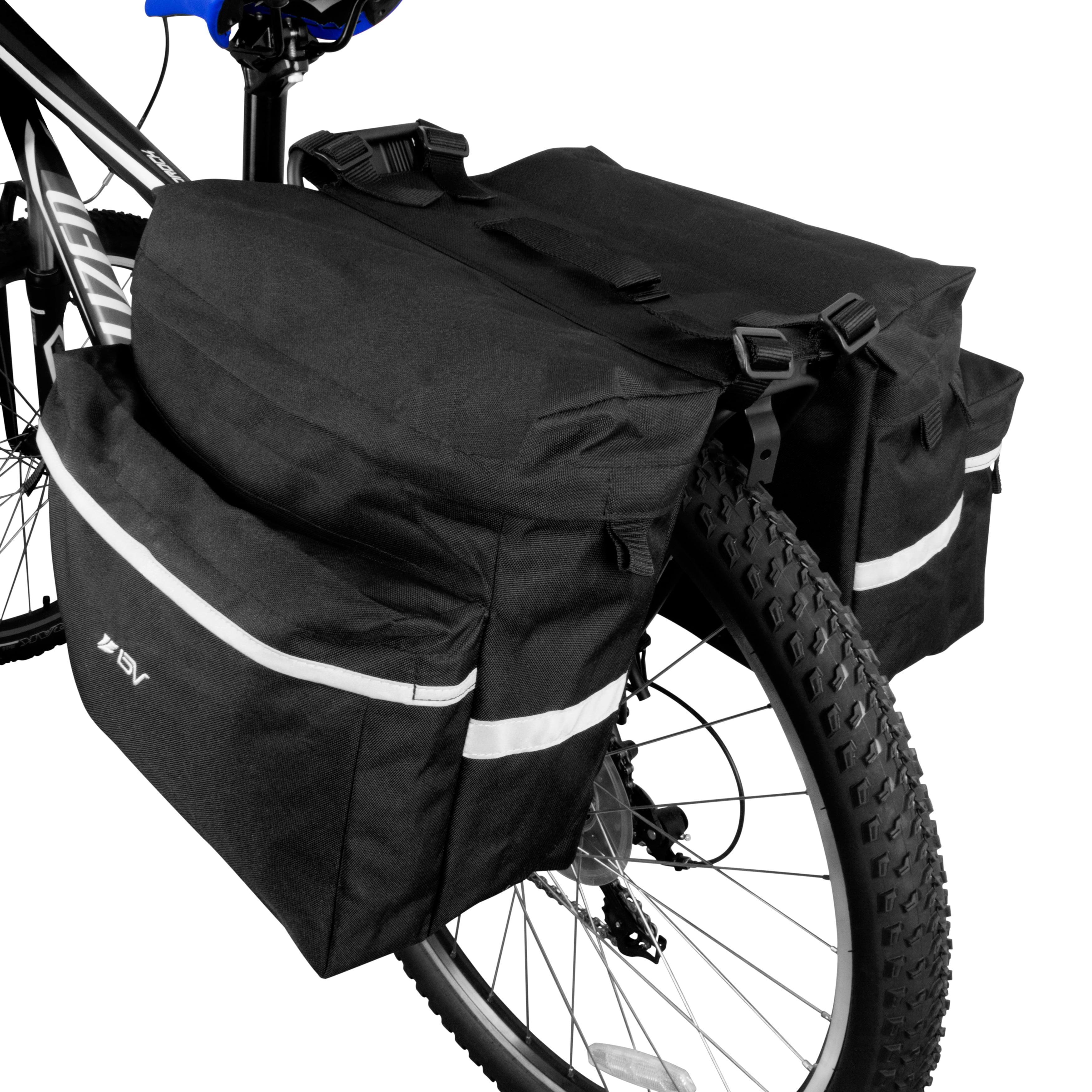 Carrying Handle Bike Bag Bicycle Panniers w// Adjustable Hooks Reflective Trim
