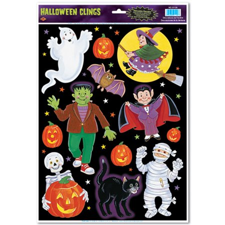 Club Pack of 144 Halloween Characters and Pumpkins Window Clings](Scary Halloween Window Clings)