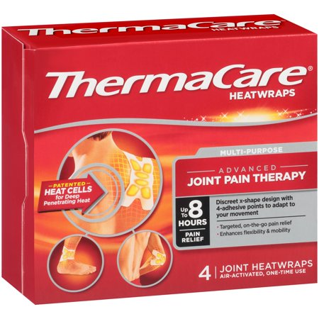 Thermacare Heat Wraps Mulit Purpose Joint Pain Therapy  Up To 8 Hours Pain Relief  4 Count
