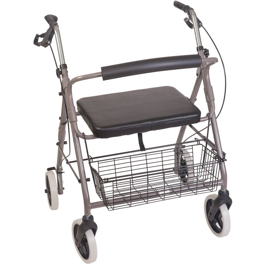 DMI Lightweight Extra-wide Aluminum Rollator Walker with Seat, Titanium, Folding
