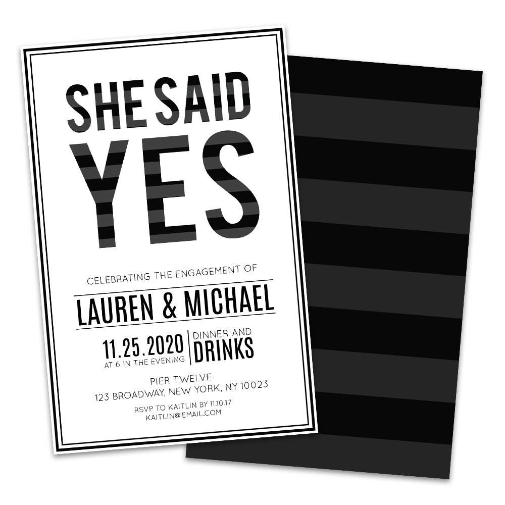 Personalized She Said Yes Engagement Party Invitations