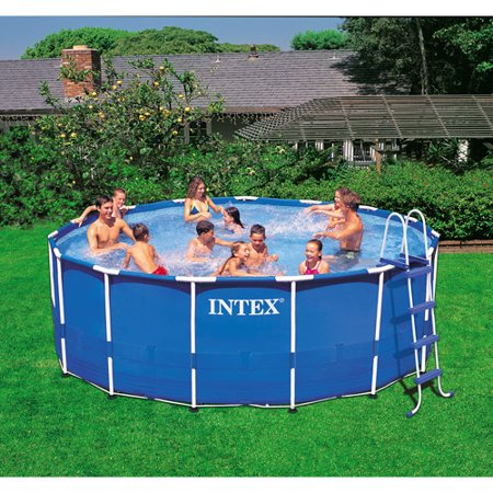 intex 15 x 48 metal frame above ground swimming pool with filter pump - Intex Pools