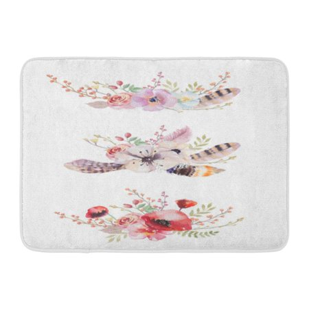 GODPOK Purple Chic of Watercolor Vintage Floral Bouquets Boho Spring Flowers and Leaf White Pink Feather Rug Doormat Bath Mat 23.6x15.7 inch