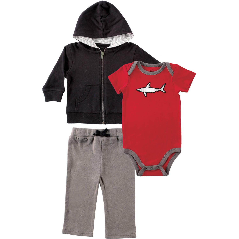 Yoga Sprout Newborn Baby Boys Shark Hoodie, Bodysuit & Pants Set