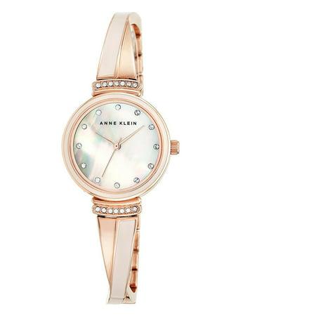 Dial Bangle Bracelet Watch - 2216BLRG Women's MOP Dial Pink and Rose Gold Steel Bangle Bracelet Swarovski Crystal Watch