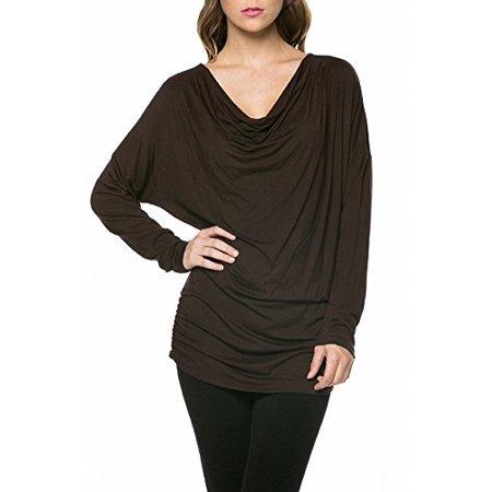 f2f44dcc62ab SASSY APPAREL - Sassy Apparel Women's Trendy Long Sleeve Draped Cowl Neck  Fashion Top - Walmart.com