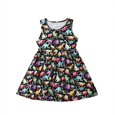 Toddler Kids Clothing Baby Girls Cute Cartoon Dinosaur Sleeveless Party Princess Mini Dress Outfits Clothes
