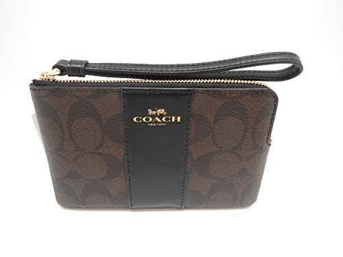 3d19250ec9600 italy coach f58035 corner zip wristlet in signature coated canvas with  leather stripe brown black ab0f2