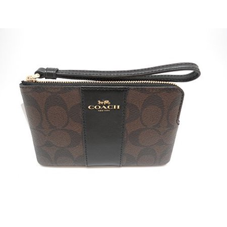 Coated Canvas Black Leather (COACH F58035 CORNER ZIP WRISTLET IN SIGNATURE COATED CANVAS WITH LEATHER STRIPE BROWN)