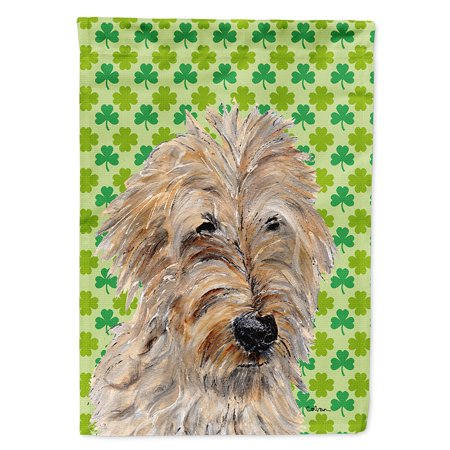 Golden Doodle 2 Lucky Shamrock St. Patrick's Day Flag Canvas House - Lucky Shamrock