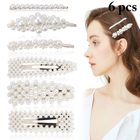 6PCS Hair Clips, Aniwon Fashion Faux Pearl Decor Hair Barrettes Snap Hair Pins Bows Alligator Accessories for Women Girls (Fashion Snap)