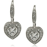 IN LOVE BY BRIDES Platinum-Plated Heart Dangle Cubic Zirconia Leverback Earrings