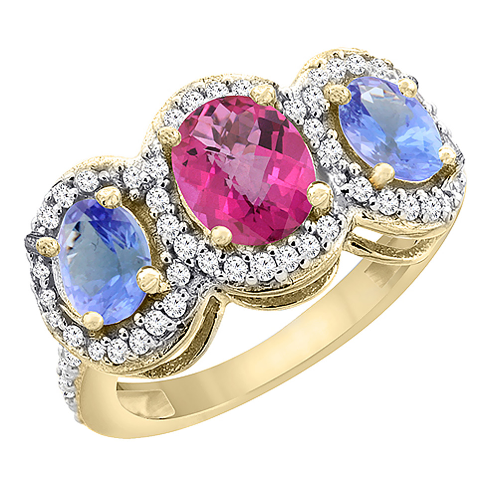 14K Yellow Gold Natural Pink Sapphire & Tanzanite 3-Stone Ring Oval Diamond Accent, size 5.5 by Gabriella Gold