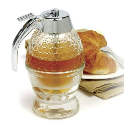 Honey Dispenser, Chrome Lid Handle Storage Food Syrup Small Glass Dispenser
