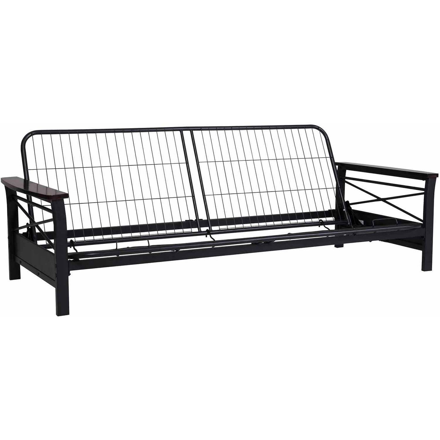 nadine metal futon frame with espresso wood armrests walmartcom